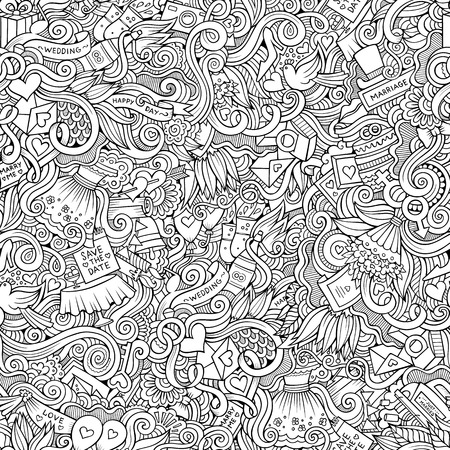 doodles: Cartoon vector doodles hand drawn wedding seamless pattern