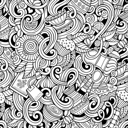 detailed: Cartoon hand-drawn doodles on the subject of cafe, coffee shop theme seamless pattern. Line art sketchy detailed, with lots of objects vector background