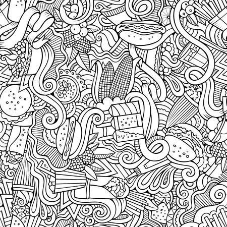 elote caricatura: garabatos dibujados a mano de dibujos animados sobre el tema de patrón transparente tema de la comida rápida. dibujos detallados, con una gran cantidad de objetos de fondo vector