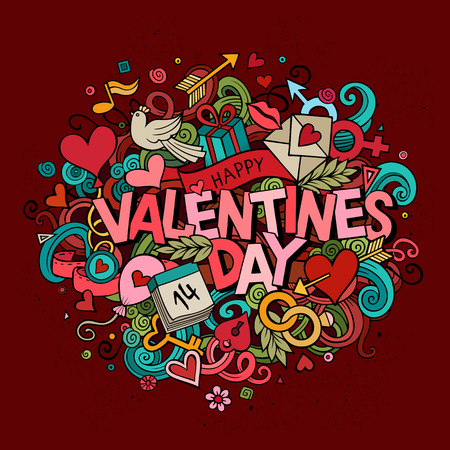 man symbol: Cartoon vector hand drawn Doodle Happy Valentines Day illustration. Colorful design background with objects and symbols.