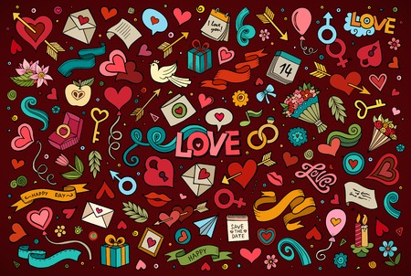 love kiss: Colorful vector hand drawn doodles cartoon set of Love and Valentines Day objects and symbols Illustration