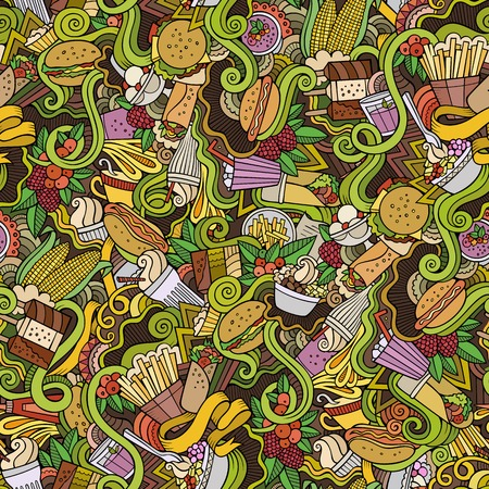 hot food: Cartoon hand-drawn doodles on the subject of fast food theme seamless pattern. Colorful detailed, with lots of objects vector background