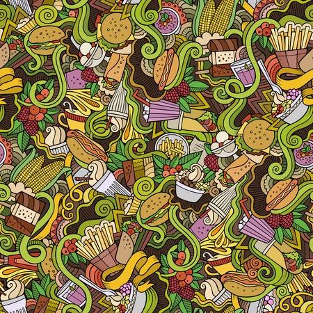 cartoon ice cream: garabatos dibujados a mano de dibujos animados sobre el tema de patr�n transparente tema de la comida r�pida. Colorido detallado, con una gran cantidad de objetos de fondo vector Vectores