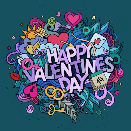simbolo uomo donna: Vettore del fumetto disegnato a mano Doodle Buon San Valentino illustrazione. disegno di sfondo colorato con oggetti e simboli. Vettoriali