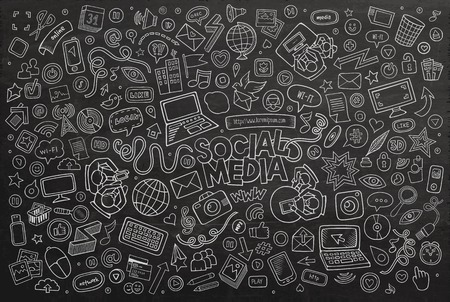 Вектор доске линию искусство Doodle мультфильм набор объектов и символов на тему социальных медиа