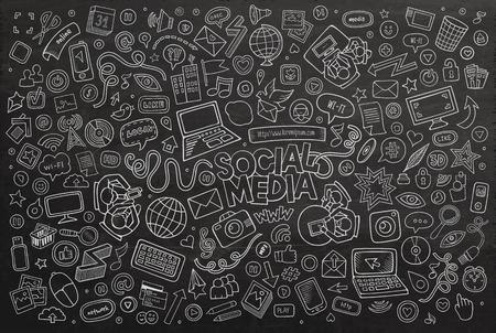 medios de comunicación: Arte del vector de línea pizarra Conjunto de la historieta del Doodle de objetos y símbolos en el tema de los medios sociales Vectores