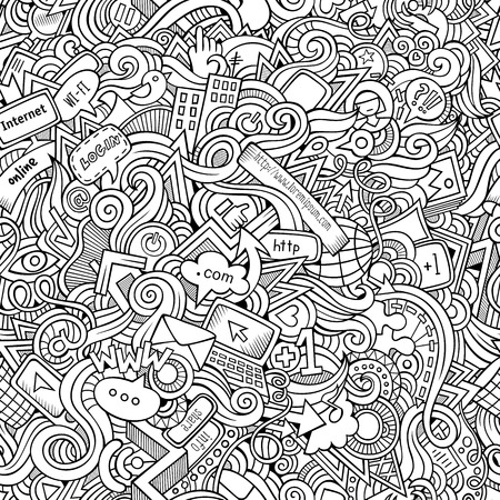 Cartoon hand-drawn doodles on the subject of Internet social media theme seamless pattern. Line art detailed, with lots of objects vector background