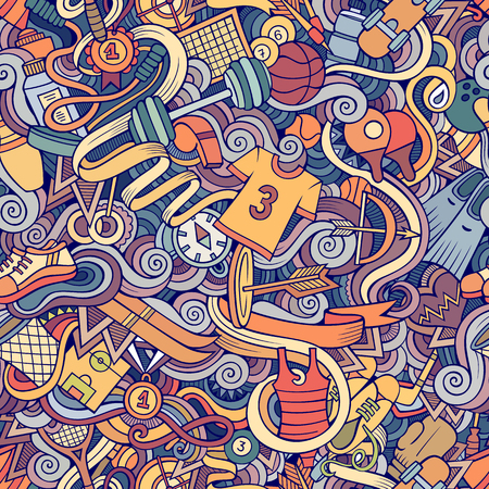 Cartoon hand-drawn doodles on the subject of sports style theme seamless pattern. Vector colorful background