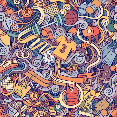 salud y deporte: garabatos dibujados a mano de dibujos animados sobre el tema de patrón transparente tema de estilo deportivo. Fondo multicolor de vector
