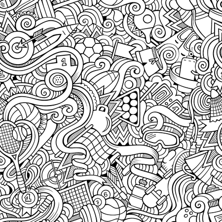 flippers: Cartoon hand-drawn doodles on the subject of sports style theme seamless pattern. Vector line art background
