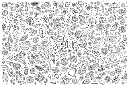 dates fruit: Vector sketchy line art Doodle cartoon set of objects and symbols on the Spring nature theme