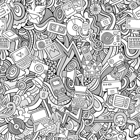doodling: Cartoon vector hand-drawn Doodles on the subject of social media, internet, technical, computer, transport icons and symbols seamless pattern. Sketchy background