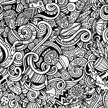 Cartoon hand-drawn doodles on the subject of Africa style theme seamless pattern. Vector trace background Иллюстрация