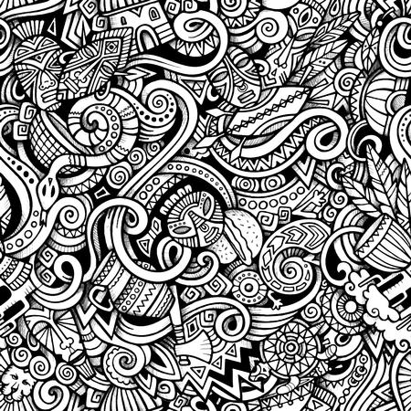 tribu: garabatos dibujados a mano de dibujos animados sobre el tema de patrón transparente tema del estilo de África. Vector traza de fondo
