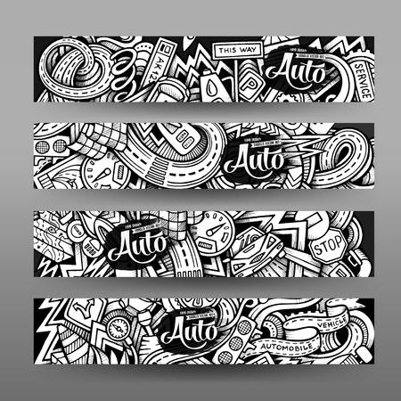 Vector de los gráficos dibujados a mano incompleta traza Doodle Automotive banner horizontal. Las plantillas de diseño establecidos Ilustración de vector