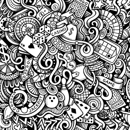 detailed: Cartoon hand-drawn doodles on the subject of Casino style theme seamless pattern. Vector trace background