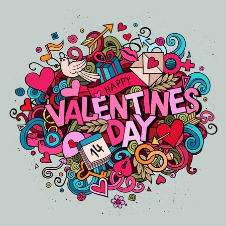 Cartoon wektor ręcznie rysowane doodle Happy Valentines Day ilustracji. Kolorowe szczegółowe tła z obiektów i symboli. Wszystkie obiekty są oddzielone