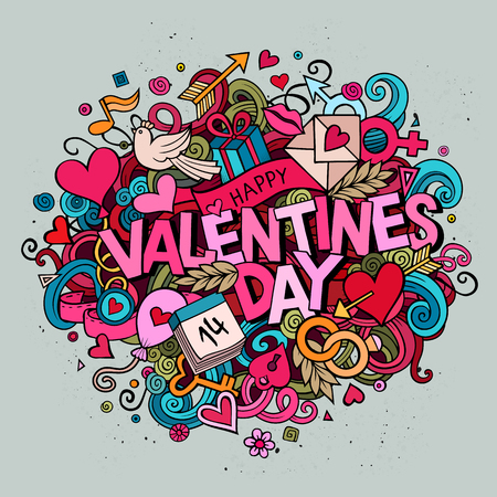 Cartoon vector hand drawn Doodle Happy Valentines Day illustration. Colorful detailed design background with objects and symbols. All objects are separated