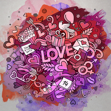 illustration people: Cartoon vector hand drawn Doodle Love illustration. Line art watercolor design background with objects and symbols.