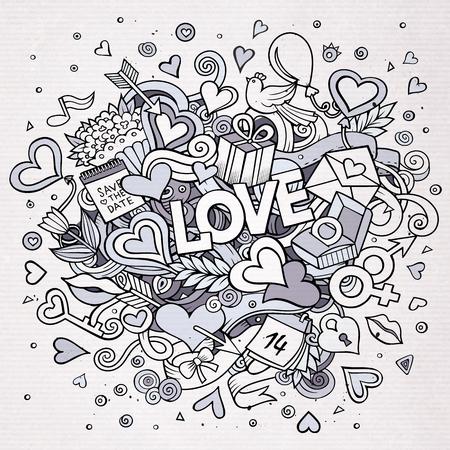 simbolo uomo donna: Cartoon vettore disegnati a mano Doodle Amore illustrazione. Line art sfondo con oggetti e simboli.