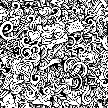 Cartoon hand-drawn doodles on the subject of Love style theme seamless pattern. Vector trace background