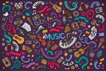 vector de la mano de colores conjunto de dibujos animados garabatos de los objetos y los símbolos de música