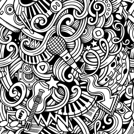 Cartoon hand-drawn doodles on the subject of Music style theme seamless pattern. Vector trace background Иллюстрация