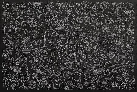 mariposa caricatura: Arte del vector de l�nea pizarra Conjunto de la historieta del Doodle de objetos y s�mbolos en el tema de la naturaleza de primavera