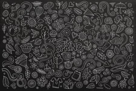 decorative object: Vector chalkboard line art Doodle cartoon set of objects and symbols on the Spring nature theme