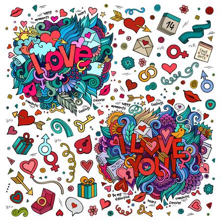 simbolo uomo donna: Set di Amore e Ti amo scritte a mano ed elementi doodles, simboli, oggetti di sfondo Vettoriali