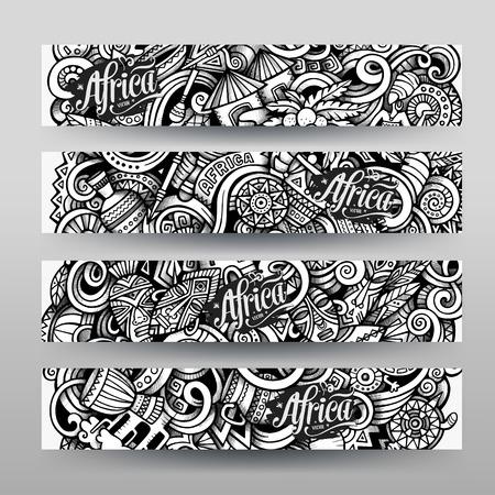 arte africano: gr�ficos dibujados mano vector traza incompleta �frica Doodle banner horizontal. Las plantillas de dise�o establecidos
