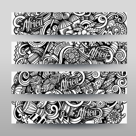 Graphics vector hand drawn sketchy trace Africa Doodle horizontal banner. Design templates set