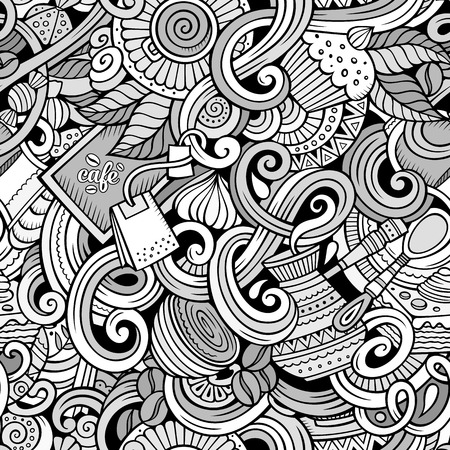 coffee leaf: Cartoon hand-drawn doodles on the subject of cafe, coffee shop theme seamless pattern. Line art sketchy detailed, with lots of objects vector background