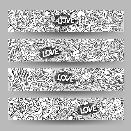 doodling: Graphics vector hand-drawn Love and Valentines Doodle. Horizontal line art banners design templates set