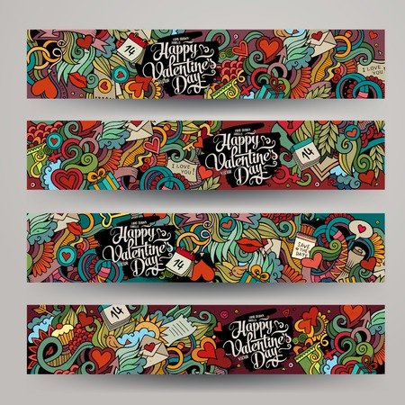 lovely couple: Graphics vector hand-drawn Love and Valentines Doodle. Horizontal colorful banners design templates set