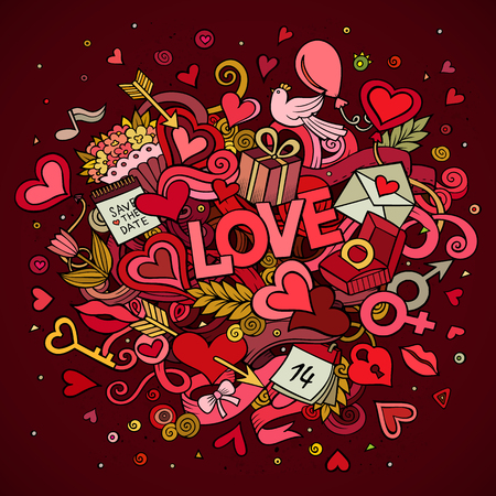 woman in love: Cartoon vector hand drawn Doodle Love illustration. design background with objects and symbols.