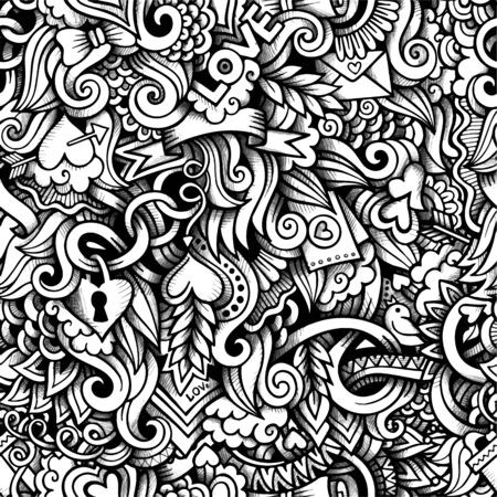 lovers: Cartoon hand-drawn doodles on the subject of Love and Valentines Day theme seamless pattern. Vector trace line art detailed, with lots of objects background Illustration