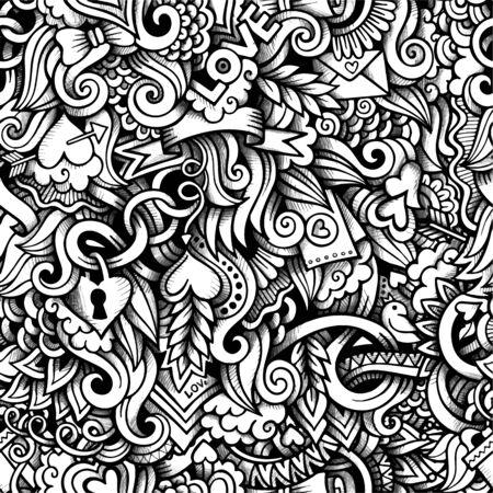 parejas romanticas: garabatos dibujados a mano de dibujos animados sobre el tema de patr�n transparente tema del D�a de San Valent�n y el amor. Vector l�nea de trazo detallado arte, con una gran cantidad de objetos de fondo