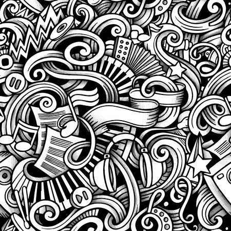 hand beats: Cartoon hand-drawn doodles on the subject of Music style theme seamless pattern.