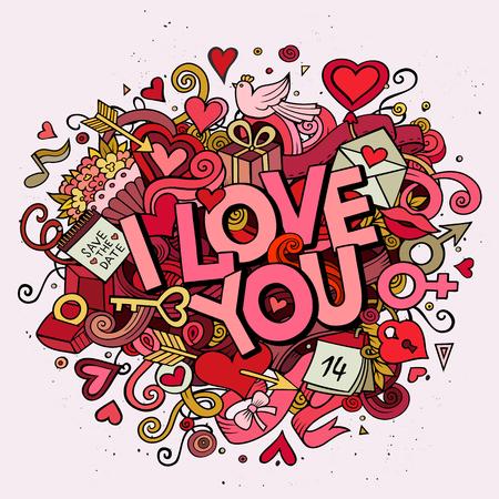baiser amoureux: griffonnages Cartoon trac� manuel sur les vacances en question, th�me d'anniversaire seamless pattern. Line art d�taill�, avec beaucoup d'objets vecteur de fond Illustration