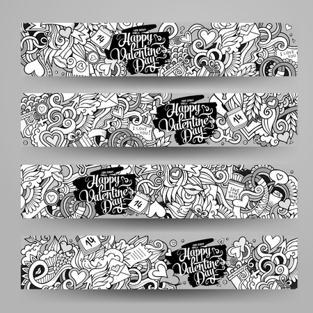 romantic couples: Graphics vector hand-drawn Love and Valentines Doodle. Horizontal line art banners design templates set