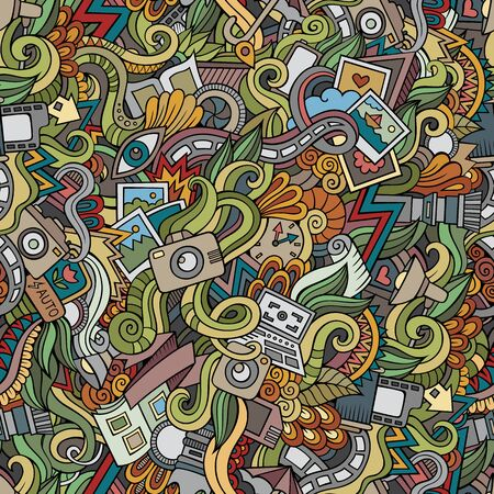 hobby: Cartoon hand-drawn doodles on the subject of photography theme seamless pattern. colorful detailed, with lots of objects vector background
