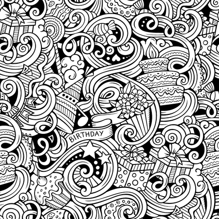 fun background: Cartoon hand-drawn doodles on the subject holidays, birthday theme seamless pattern. Line art sketchy detailed, with lots of objects vector background