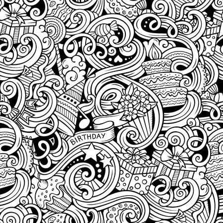 tortas de cumpleaños: Garabatos de dibujos animados dibujados a mano en las fiestas temáticas, modelo inconsútil de cumpleaños del tema. Línea de arte esquemático detallado, con una gran cantidad de objetos de fondo vector