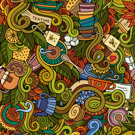 Cartoon hand-drawn doodles on the subject of tea time style theme seamless pattern. Vector colorful background