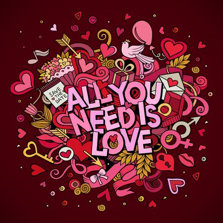 donna innamorata: disegnato vettore del fumetto mano Doodle All you need is love illustrazione. Sfondo colorato progettazione di dettaglio con gli oggetti e simboli. Tutti gli oggetti sono separati