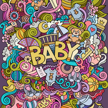 mother and baby: Cartoon vector hand drawn Doodle Baby illustration. Colorful detailed design background with objects and symbols Illustration
