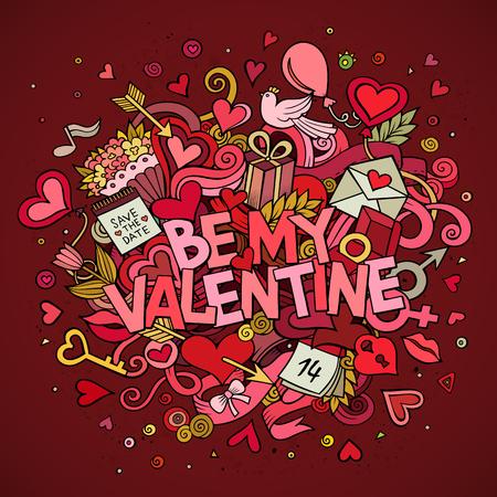 simbolo uomo donna: Vettore del fumetto disegnato a mano Doodle Be My Valentine illustrazione. Sfondo colorato progettazione di dettaglio con gli oggetti e simboli. Tutti gli oggetti sono separati