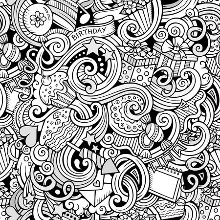 to surprise: Cartoon hand-drawn doodles on the subject holidays, birthday theme seamless pattern. Line art sketchy detailed, with lots of objects vector background