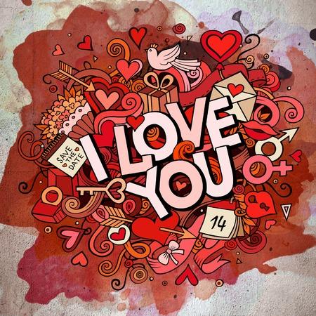 simbolo uomo donna: Vettore del fumetto disegnato a mano Doodle I Love You illustrazione. Line art sfondo acquerello design con oggetti e simboli. Vettoriali